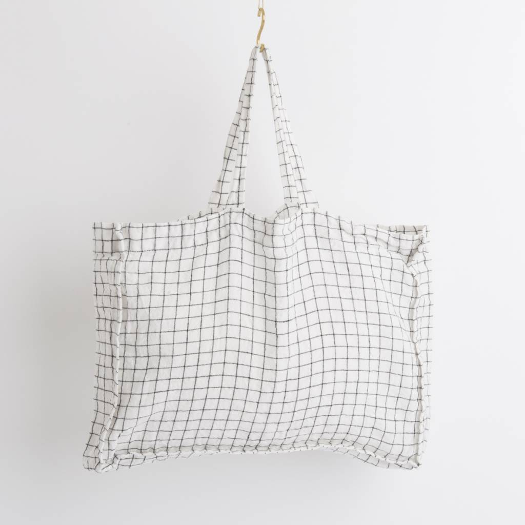 Linge Particulier  Linge Particulier Small Bag White & Black Checks Washed Linen