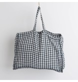 Linge Particulier  Small Bag Anthracite Gingham Washed Linen