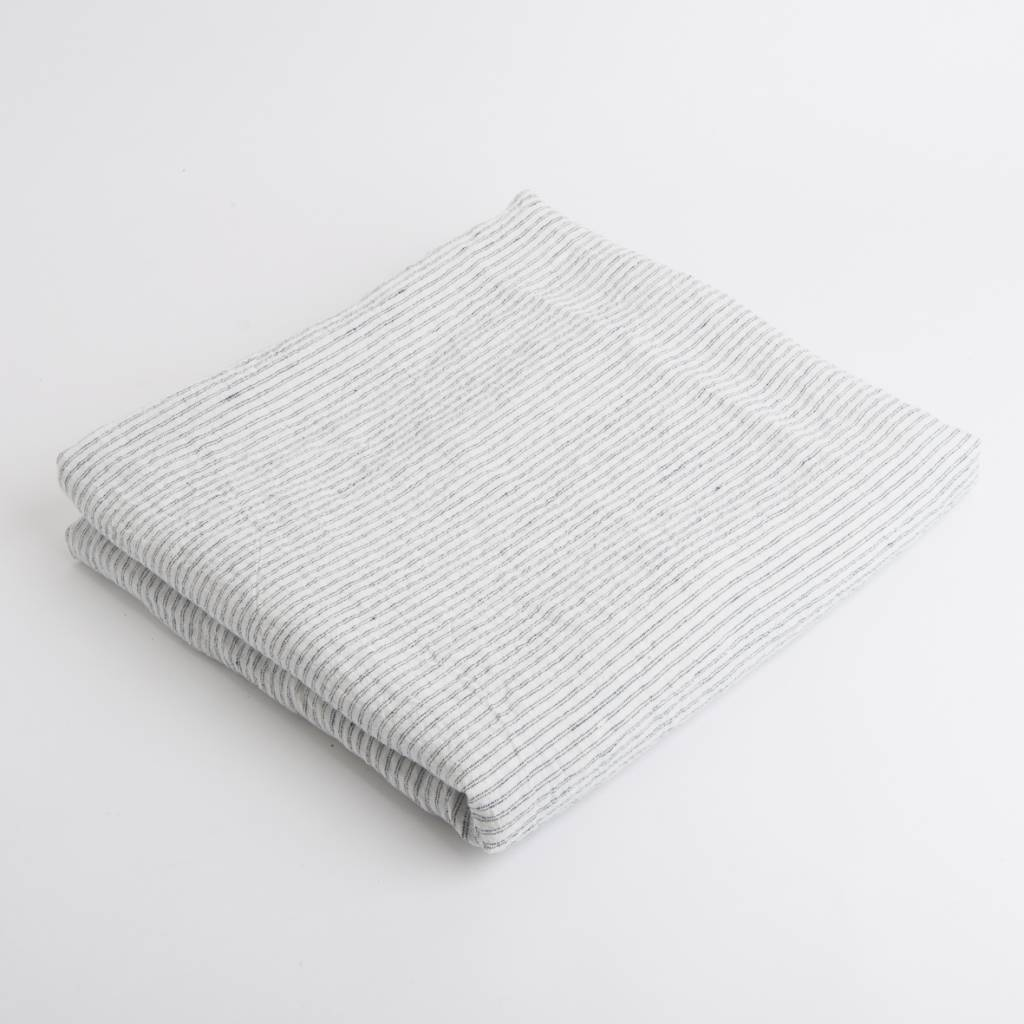 Linge Particulier  Linge Particulier Tablecloth White & Black Striped Washed Linen 160 x 300 cm