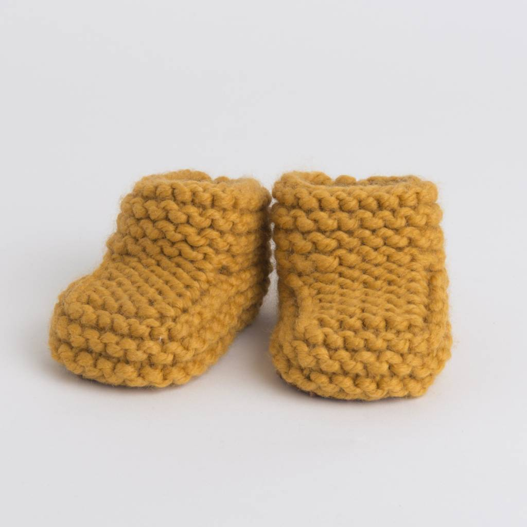 Pantoufle Handknit Curry Woolen Baby House Shoes size 10-15