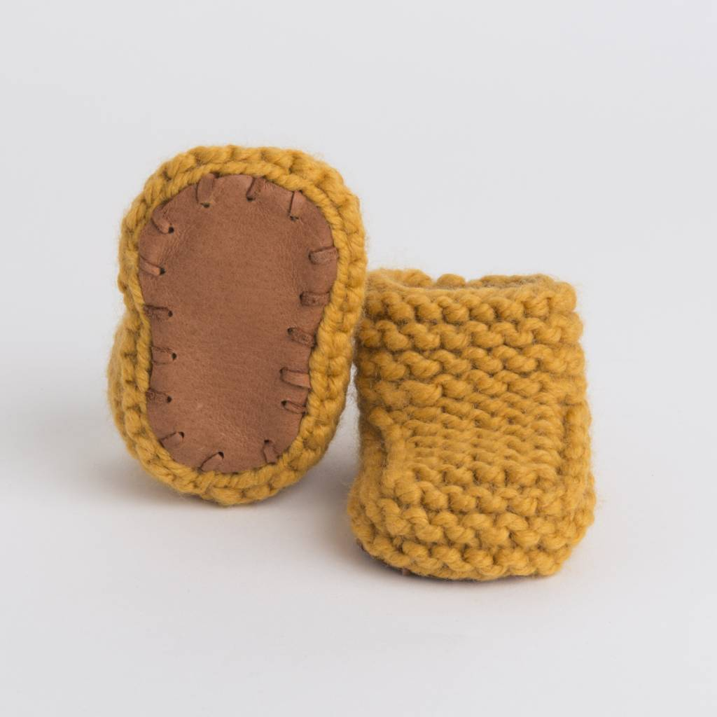 Pantoufle Handknit Curry Woolen Baby House Shoes size 16-17