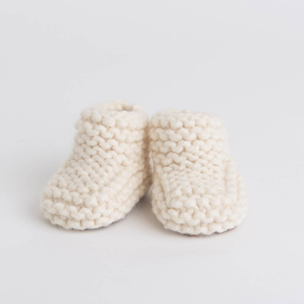 Pantoufle Handknit Cream Woolen Baby House Shoes size 10-15