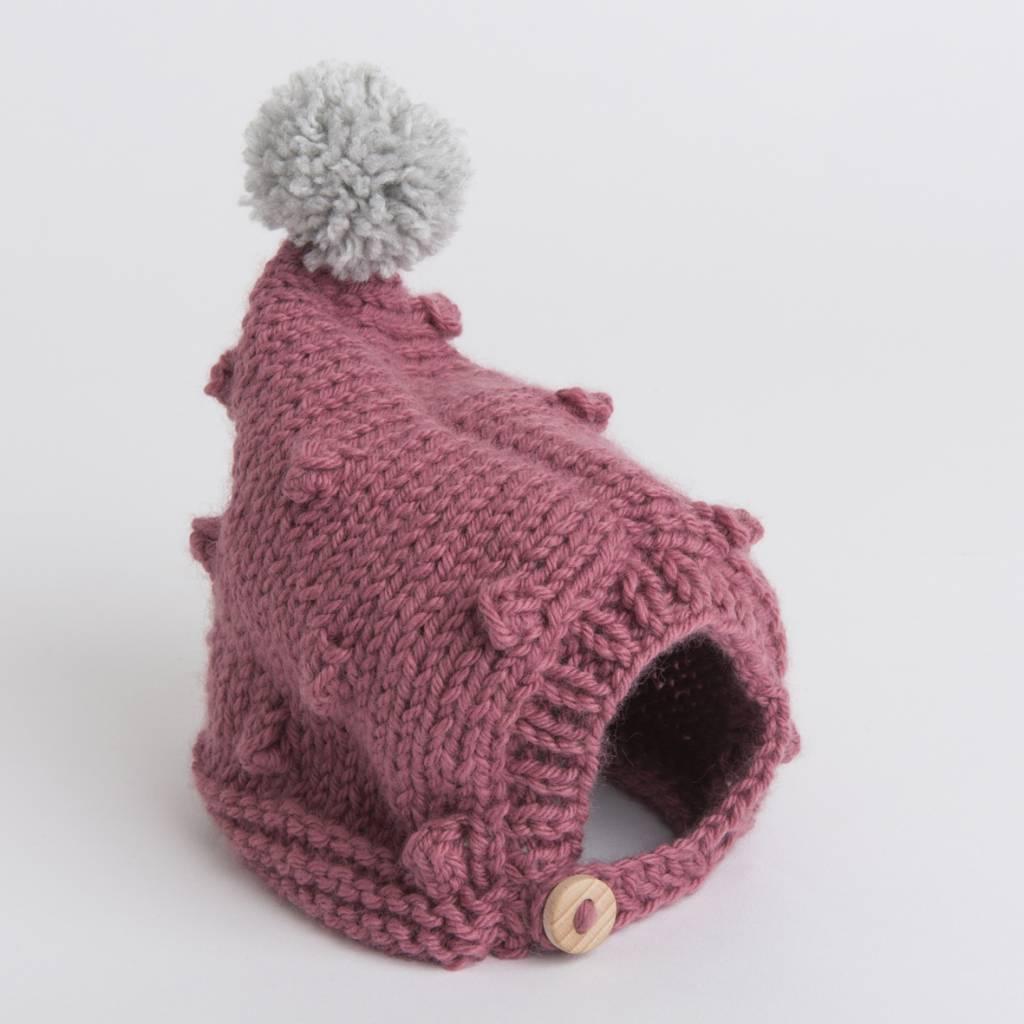 Pantoufle Handknit Dark Pink & Grey Woolen Baby Bonnet