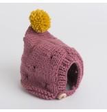 Pantoufle Handknit Dark Pink & Yellow Woolen Baby Bonnet