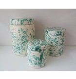 Splatterware Speckled Bluegreen on Cream jar with lid 15 x 22 cm