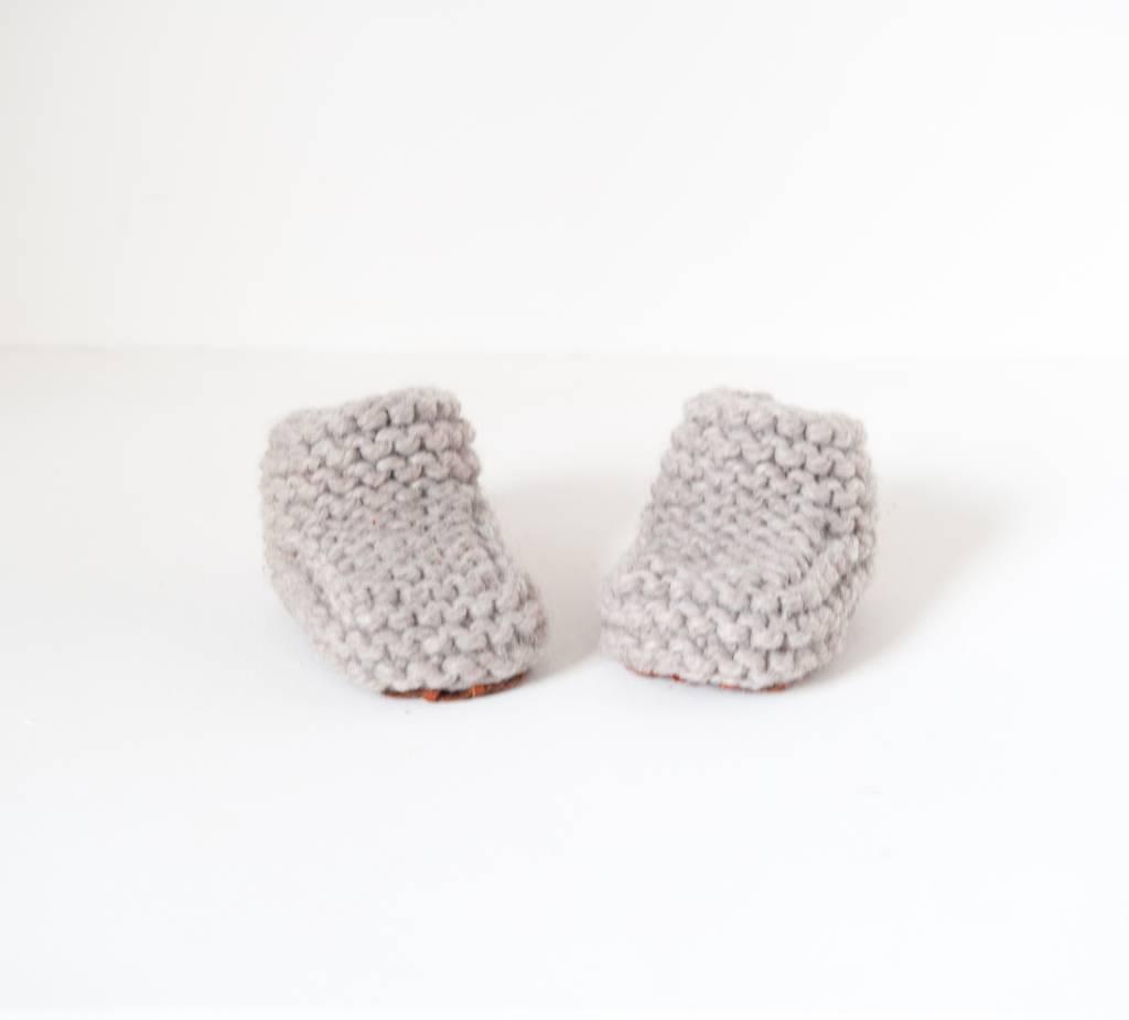 Pantoufle Handknit Greige Woolen Baby House Shoes size 16-17