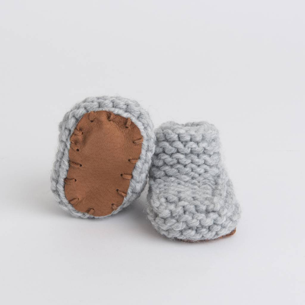 Pantoufle Handknit Grey Woolen Baby House Shoes size 10-15