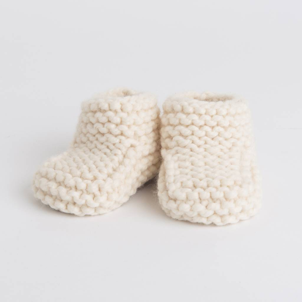 Pantoufle Handknit Cream Woolen Baby House Shoes size 16-17