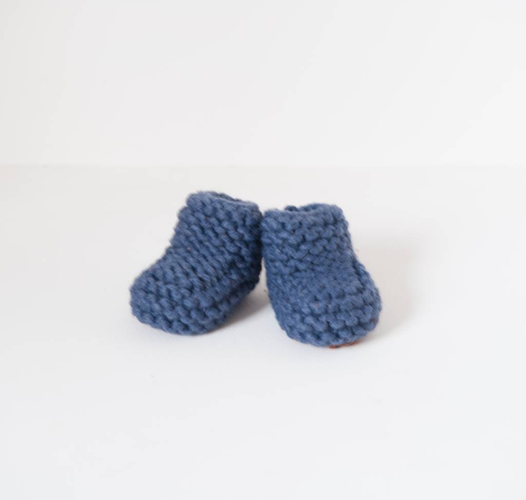 Pantoufle Handknit Blue Woolen Baby House Shoes size 10-15