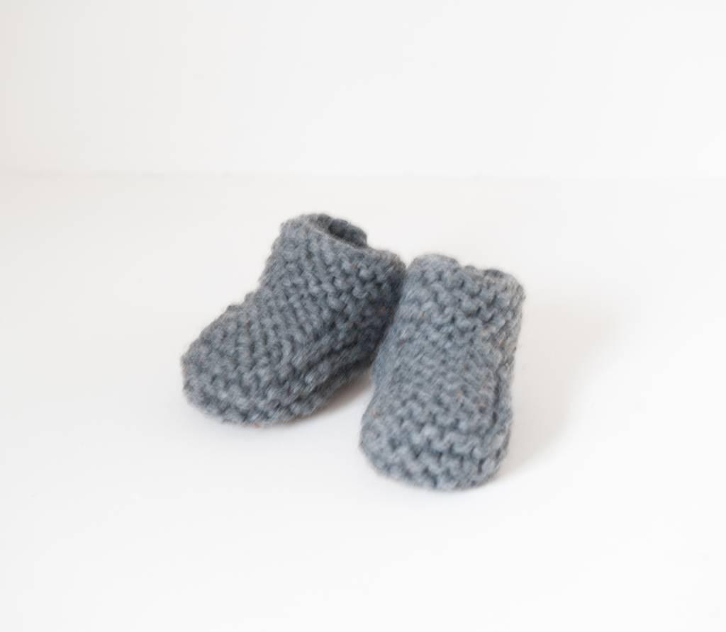 Pantoufle Handknit Dark Grey Woolen Baby House Shoes size 10-15