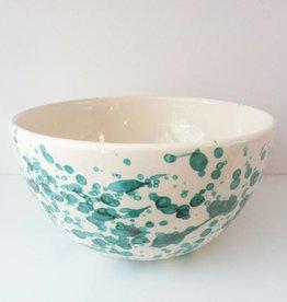 Splatterware Bluegreen on Cream Bowl
