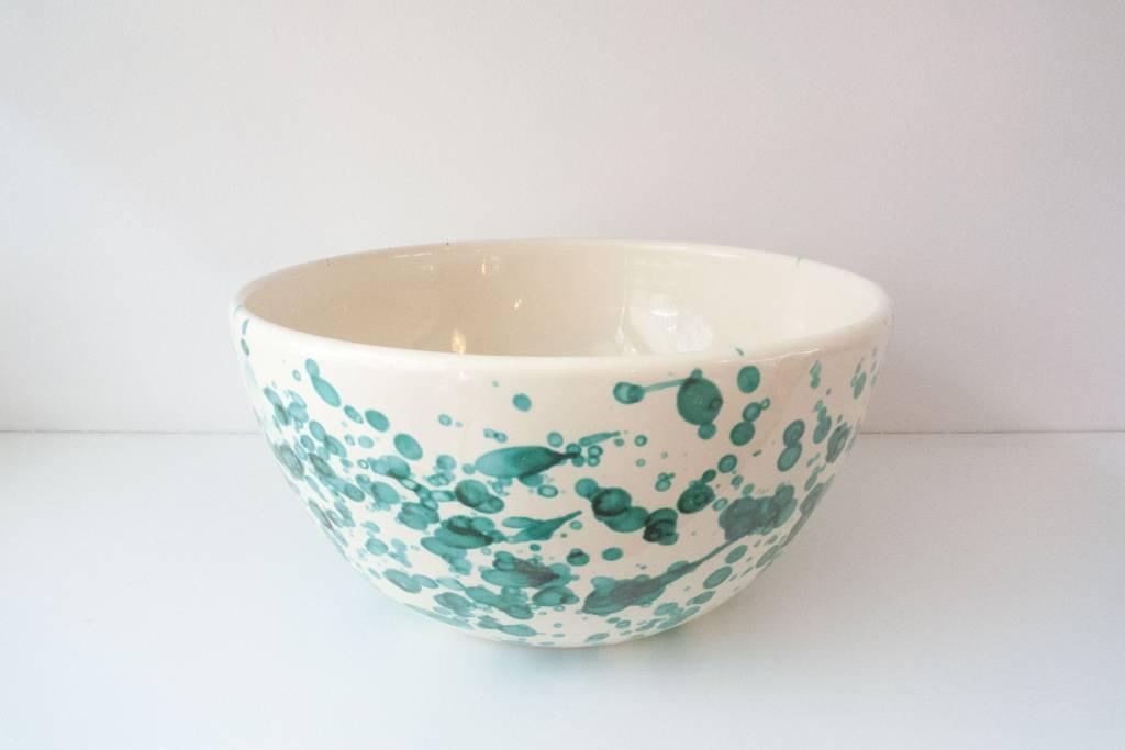 Splatterware Speckled Bluegreen on Cream Glazed Earthenware Bowl