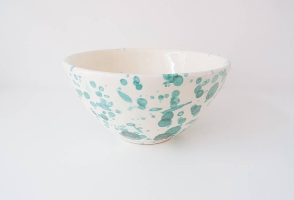 Splatterware Speckled Bluegreen on Cream Splatter Glazed Earthenware Bowl 17 cm