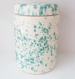 Splatterware Bluegreen on Cream Large Jar