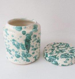 Splatterware Bluegreen on Cream Small Jar