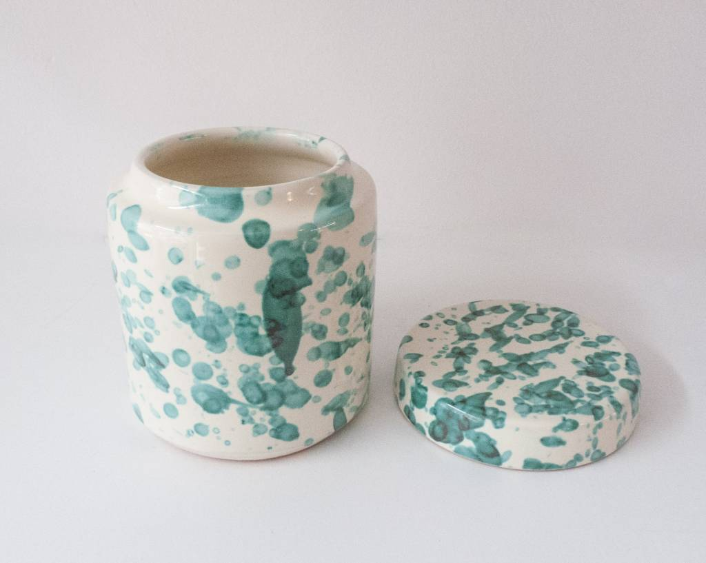 Splatterware Speckled Bluegreen on Cream Small Jar with lid