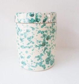 Splatterware Bluegreen on Cream Medium Jar
