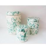 Splatterware Speckled Bluegreen on Cream jar with lid