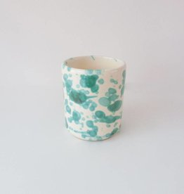 Splatterware Bluegreen On Cream Mug