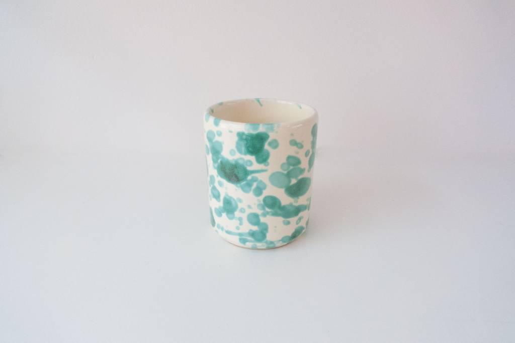 Splatterware Bluegreen on Cream Mug without handle 8 x 9 cm