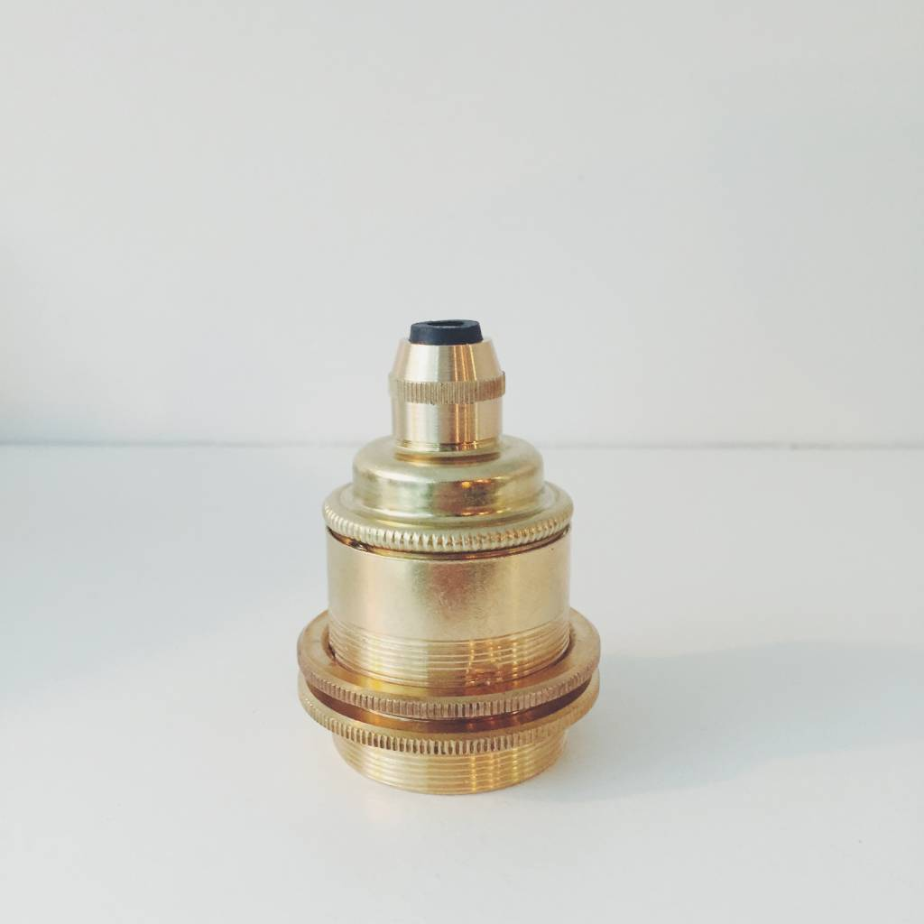 Brass E27 Lampholder with Two Brass Rings