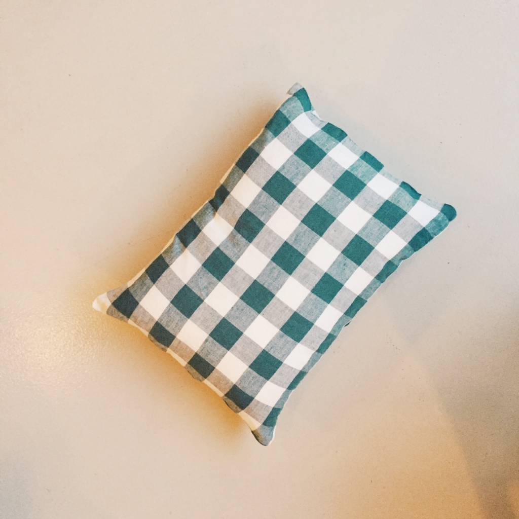 Linge Particulier  Linge Particulier Cushion Cover Vintage Green Vichy Washed Linen 35x45 cm