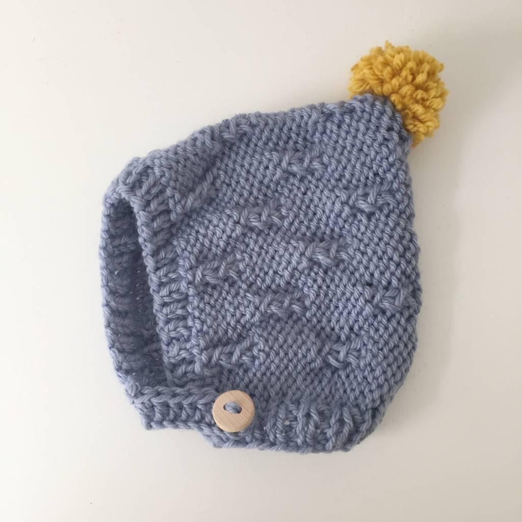 Pantoufle Handknit Blue & Yellow Woolen Baby Bonnet