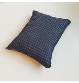 Linge Particulier  Linge Particulier Cushion Cover Black Check Washed Linen 40 x 60 cm
