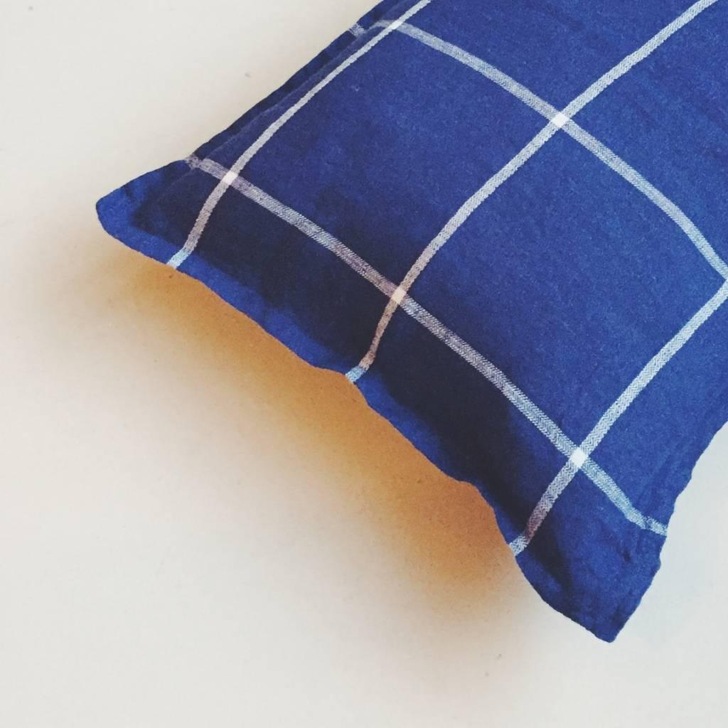 Linge Particulier  Linge Particulier Cushion Cover Tartan Blue Washed Linen 40 x 60 cm