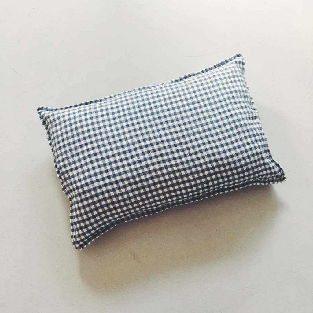 Linge Particulier  Linge Particulier Cushion Cover Anthracite Gingham Linen 40 x 60 cm