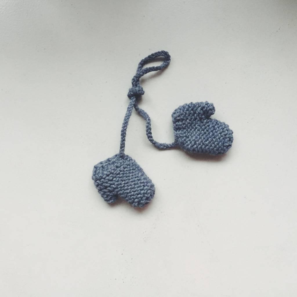 Pantoufle Handknit Darkgrey Woolen Baby Mittens