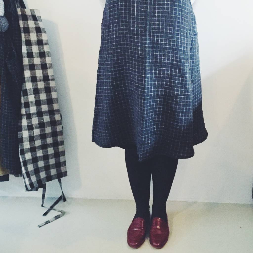 Linge Particulier  Linge Particulier Japanese Apron Black and White Check Washed Linen
