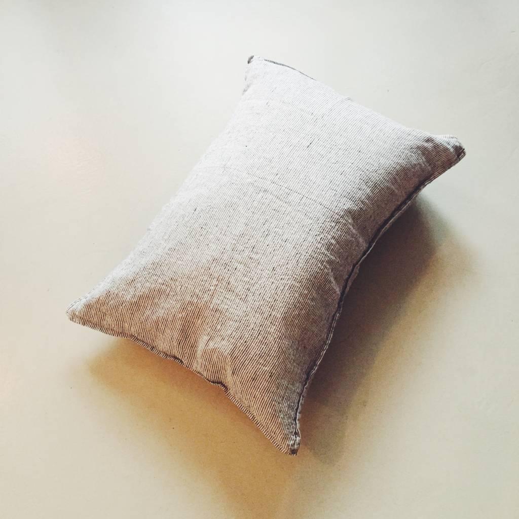 Linge Particulier  Linge Particulier Cushion White & Black Stripe Washed Linen 50 x 70 cm