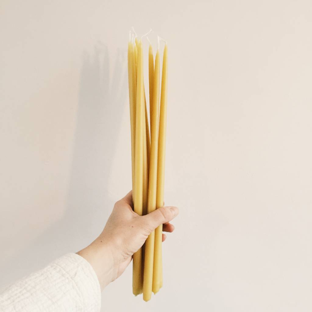 Long Thin Taper Beeswax Candles set of 2