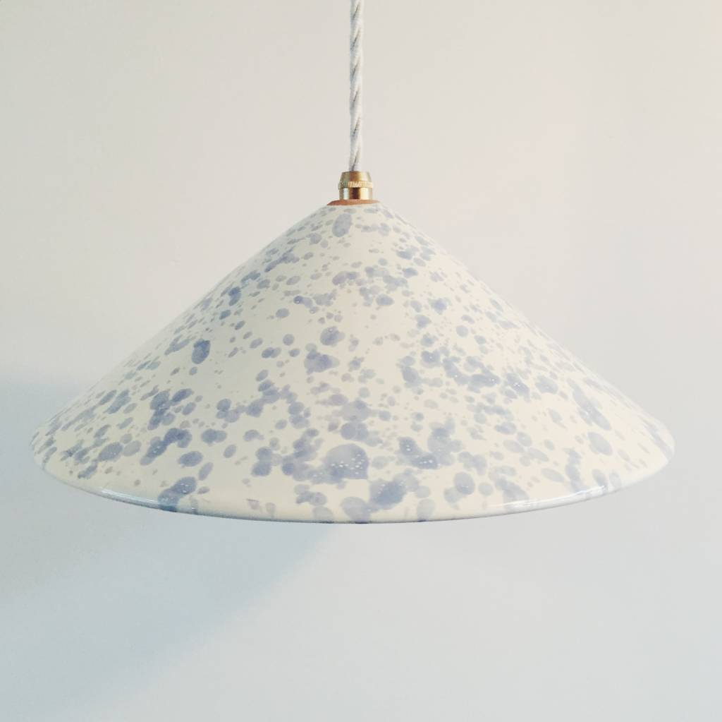 Splatterware Grey on Cream Splatter Glazed Earthenware Pendant Lamp