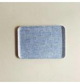 Fog Linen  Fog Linen Blue check Linen Coating Tray 33 x 23 cm