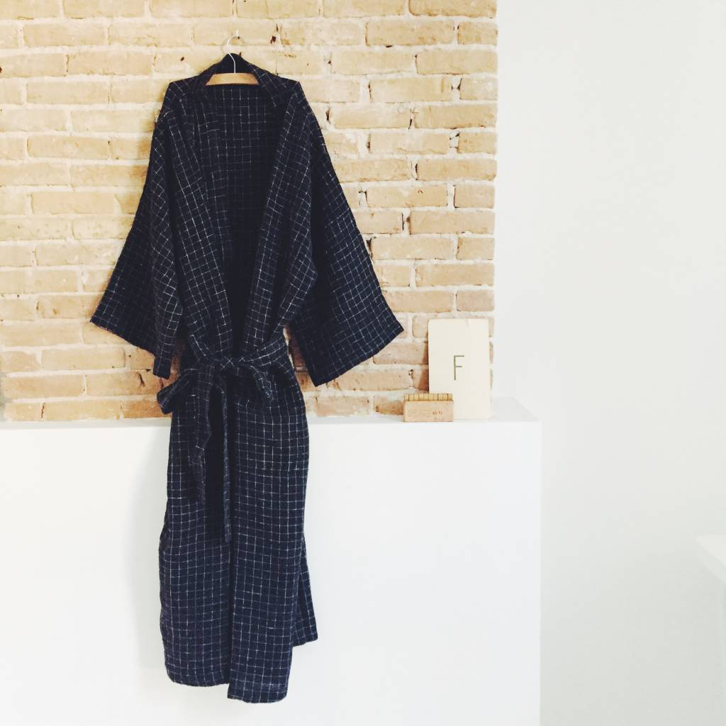 Linge Particulier  Linge Particulier Kimono Black Check Washed Linen Medium
