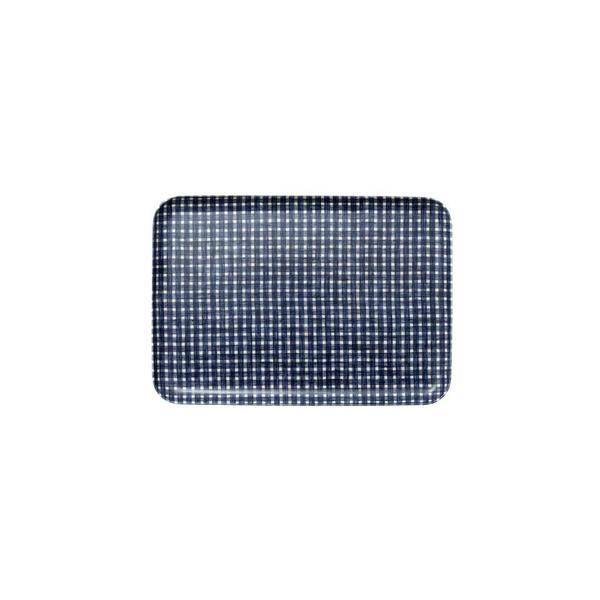 Fog Linen  Fog Linen Blue Plaid Linen Coating Tray 33 x 23 cm