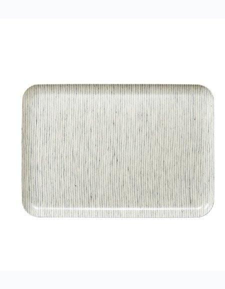 Fog Linen  Fog Linen Grey Striped Linen Coating Tray 33 x 23 cm