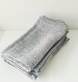 Linge Particulier  Napkin Black and White Stripe