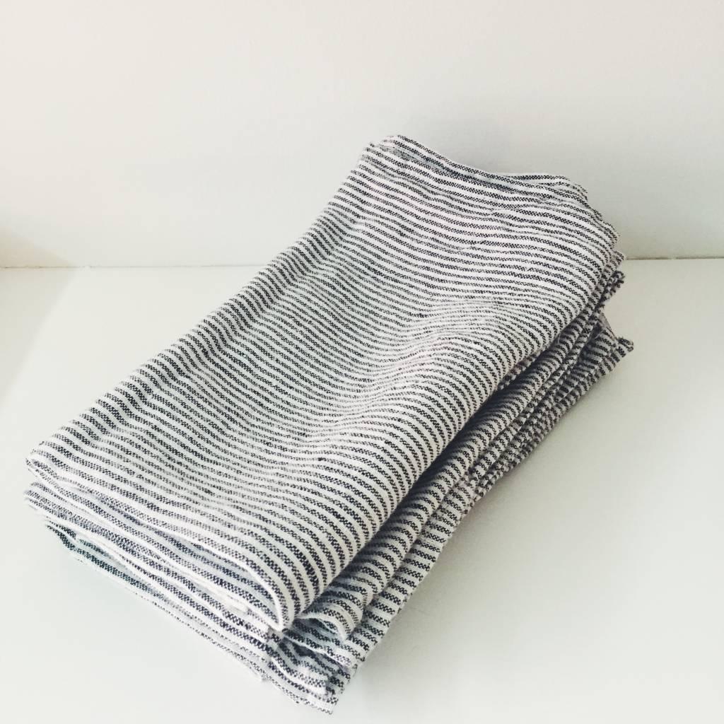 Linge Particulier  Linge Particulier  Black and White Stripe set of 2 Napkins 45 x 45 cm