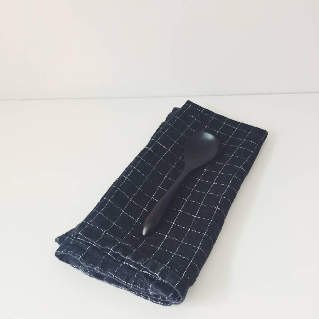 Linge Particulier  Linge Particulier Black Check set of 2 Napkins 45 x 45 cm