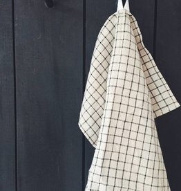 Fog Linen  Beige Black Check dishtowel