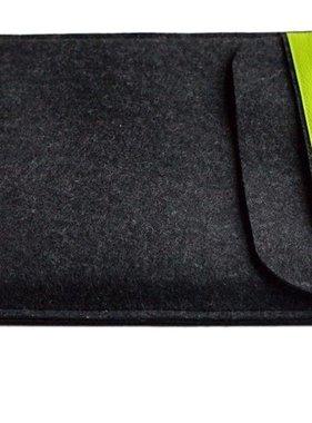 Notebookhülle anthrazit mit Lederlasche Limette