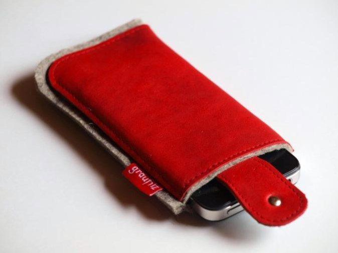 Smartphonetasche mit Verschlußlasche - rot