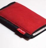 Smartphonetasche - Leder und Filz - rot