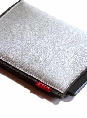 eBook Reader Tasche aus Wollfilz und weißem Leder