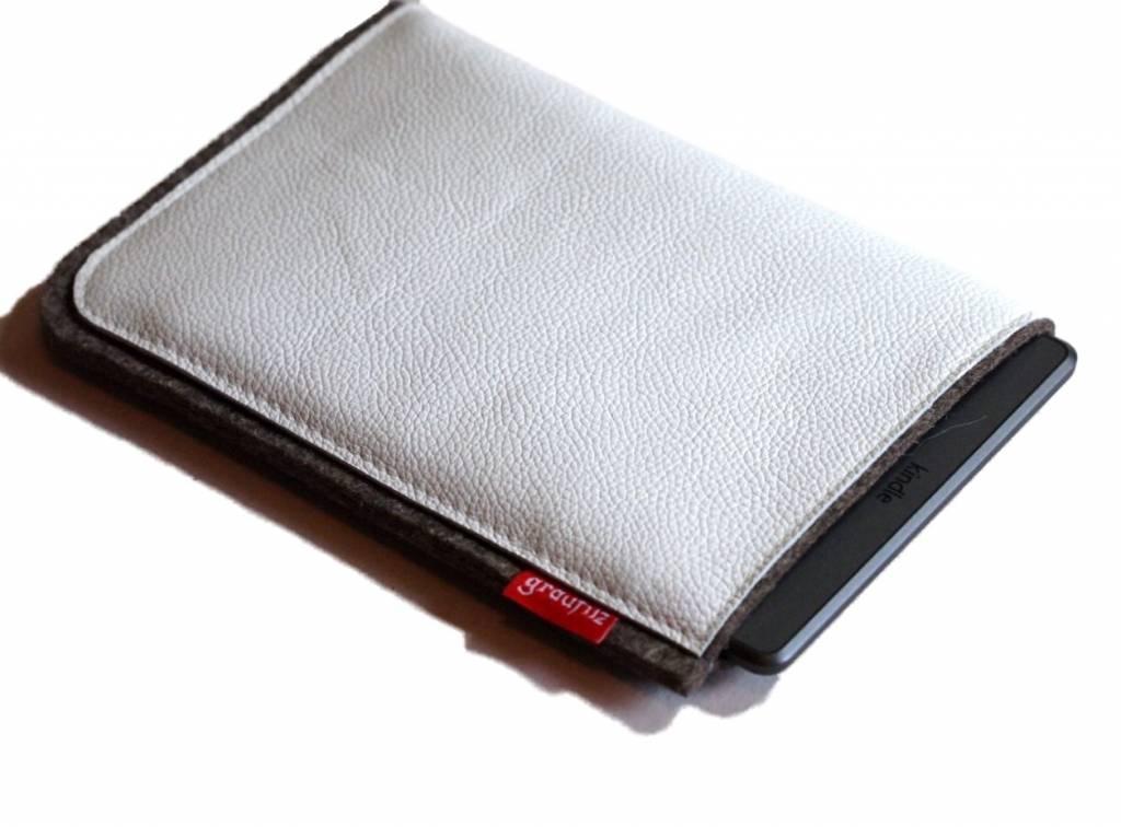 eBook Reader Tasche für eBook Reader aus Wollfilz und weißem Rindsleder