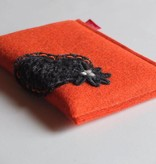 eBook Reader Tasche mit Herz in orangefarbenen 2mm starkem Filz
