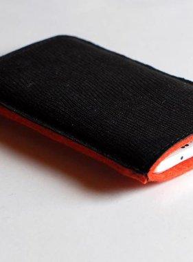 Smartphone Tasche schwarz genarbt
